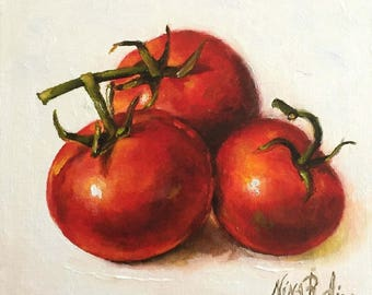 Tomatoes Original Oil Painting by Nina R.Aide Still Life Kitchen Art Canvas 6x6 Small Daily Painting Home Wall Decor