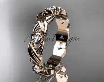 14kt rose gold diamond leaf and vine wedding ring, engagement ring, wedding band ADLR19