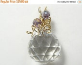 40% OFF Faceted crystal Wire Wrapped with 14k gold fill wire, round ball shape,(w42661)