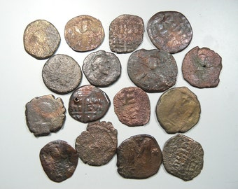 16 Ancient Roman coins, 22-32 mm, for pendants or keep as specimens, cleaned, Byzantine Empire and Roman coins (c21071)
