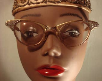 RESERVED Vintage 1950s Gold Colored Frames Eyeglasses with Rhinestones Cat Eyeglasses