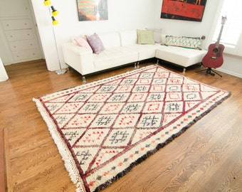 Vintage Moroccan Beni Ourain Rug Red and Ivory Wool Boho Living - FREE DOMESTIC SHIPPING