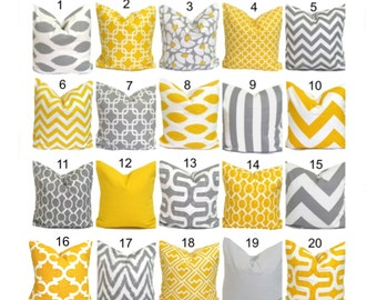 Pillow Cover.Yellow Pillow.Decorative Pillow Cover.Gray Pillow.Cushion Cover.Grey Cushion.Yellow Decor.Pillow.Grey Pillow.Gray Yellow 18x18