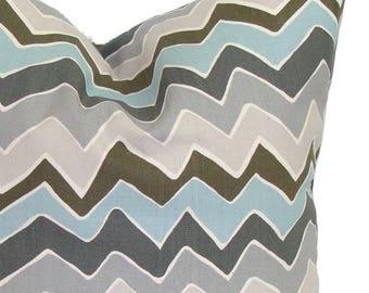 BLUE CHEVRON PILLOW Sale.12x16 inch.Decorative Pillow Cover.Housewares.Home Decor.Blue Gray Pillow Cover.Pillow Cover.Pillows.Zig.Chevron