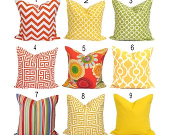 OUTDOOR Pillows, Outdoor Pillow Covers, Orange Pillow Cover, Yellow Gray, Decorative  Pillow