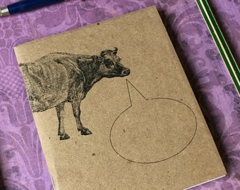 CONVERSANT COW ... Mini Journals Set of 2 Notebooks Animal Lovers Farm Animals Handmade Blank Journals Gift Set Small Sketchbook Kraft Book