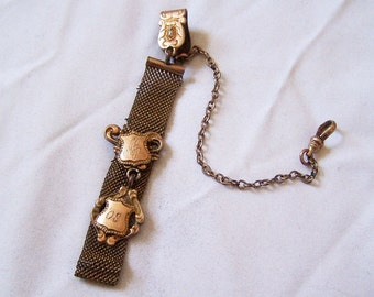 BEAUTIFUL Art Deco Pocket Watch Fob, Mesh W/Gold Filled Chain 1908 R and Y