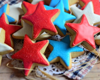 Star Shortbread Sugar Cookies, Red, White, Blue 4th of July Shortbread Cookies