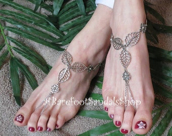 Leaf Barefoot Sandals Beach Wedding Foot Jewelry Women Toe Ring Ankle Body Chained Jewelry SIZED Anklet Shoes Choice in Silver or Bronze
