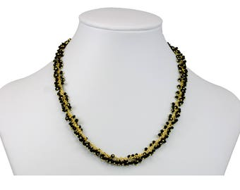 Black Crystal Necklace Faceted Cluster 14k Gold Vermeil  Beaded Chain Link  18 Inches Dense Clusters Super Sparkly