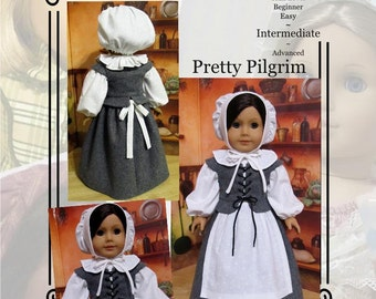 "PDF Pattern KDD06 ""Pretty Pilgrim"" -An Original KeepersDollyDuds Design, makes 18"" Doll Clothes"