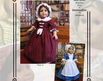 "PDF Pattern KDD20 ""Colonial Day Dress""- An Original KeepersDollyDuds Design, makes 18"" Doll Clothes"