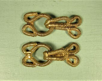 Wire Wrapped Fur Hook and Eye Closure - Vintage Gold Tone Metal Coat Fastener