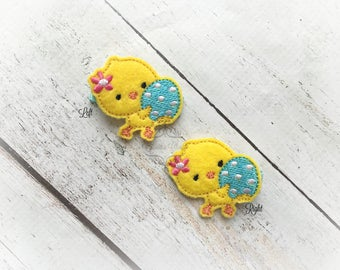 Chick hair clip Little Chick with Egg clip Sweet Chick Easter hair clip. Pick Left side or Right.