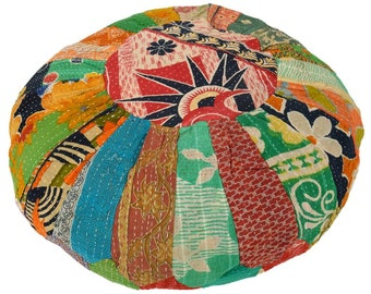 Vintage Kantha Patchwork Pouffe Cover Pouf Floor Cushion DV44