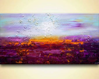 "Canvas Print 48""x24"" Stretched Ready-to-Hang  & Embellished  - Sunset on Jericho - Art by Osnat"