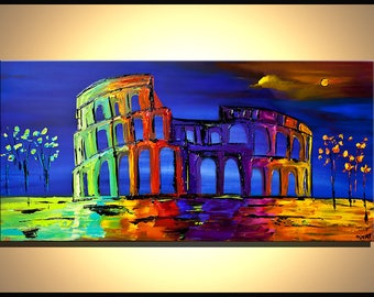 Canvas Print - Stretched, Embellished & Ready-to-Hang  - Colosseum - Art by Osnat