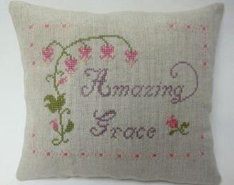 Amazing Grace Cross Stitch Christian Mini Accent Pillow Shelf Pillow