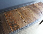 Custom Stained Jacobean 24 x 48 Industrial desk with raw steel trim and straight steel legs