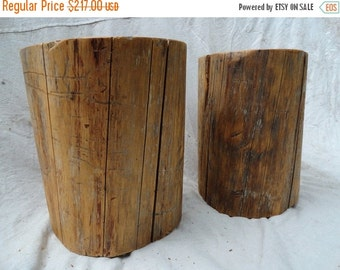 Last Day.15%OFF Pair of hardwood stump tables