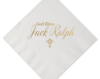 God Bless Personalized Christening/Baptism Napkins