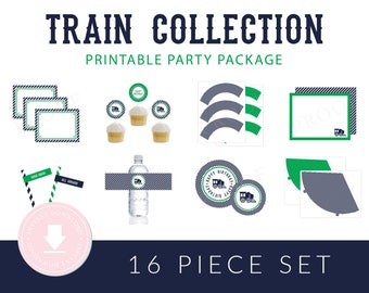 INSTANT DOWNLOAD Train Printable Party Package (Train Birthday, Train Party Instant Download, Train Party Printables, Boys Train Party)