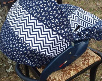 Anchors and navy chevron nautical sailor infant baby universal seat cover baby trend graco