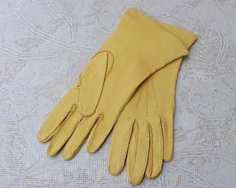 Beautiful Pair of Vintage Kid Skin Gloves in Butternut Gold Color