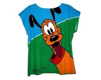 Vintage 80s 90s DISNEY Mickey & Co. Collector's Series #1 Blue Green PLUTO T-Shirt by J.G. Hook- Size L