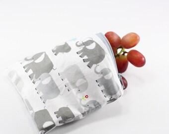 Elephants Reusable Bag, Reusable Bags, Reusable Snack Bags, Reusable Sandwich Bags, Handmade Zipper Bags, Small Zipper Pouch