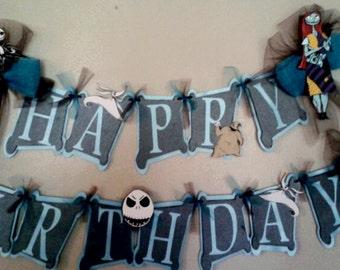 Nightmare before Christmas Happy Birthday Banner Jack Skellington Sally Oogie Boogie Zero Happy Birthday Banner