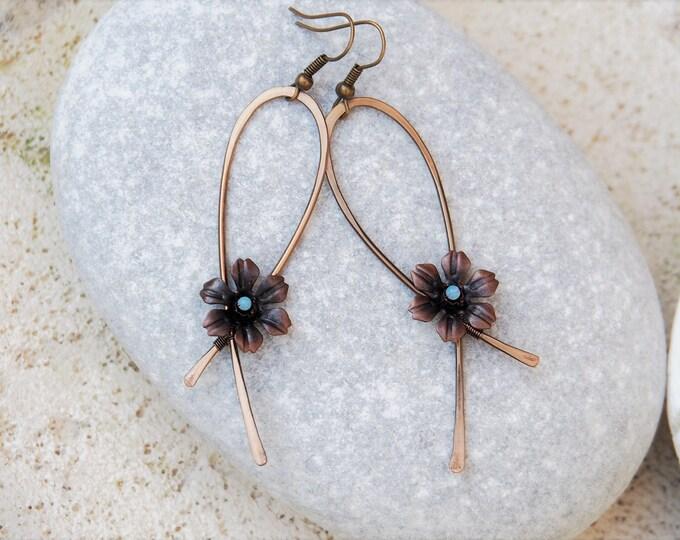 Flower earrings ~ Artisan jewelry ~ Opalite beads