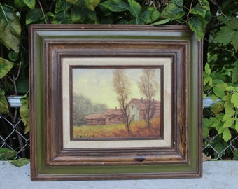 Antonio Cereda Oil Painting Large Vintage Oil on Canvas  Barn Farm Landscape  Oil Painting Framed