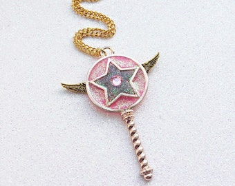 Kawaii Magical Girl Winged Sailor Moon Star Wand Charm Necklace