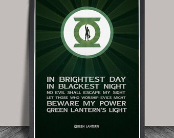 Green Lantern Poster.Superheroes Minimalist  Typography Justice League,Heroes Illustrations,Wall art,Christmas Gift,DC Comic Gift,Hero Quote
