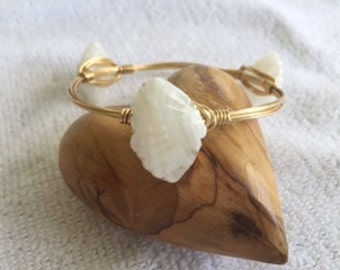 Bourbon & Bowties LIKE Shell Bangle Bracelet, Gifts for Her, Bridesmaid Gifts, Wire Wrapped Bracelet, Gifts for Mom, Mother