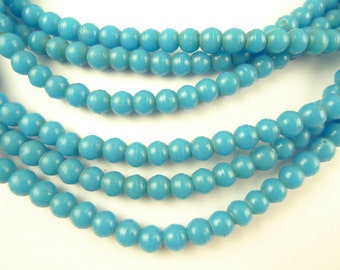 3 strand lot matched 5 mm turquoise prosser glass African trade beads AG-0013