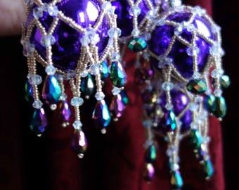 Set of 8 Swarovski Crystal Victorian Style Beaded Christmas Baubles - Heavily embellished with cascading AB crystals