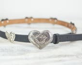 Vintage Size 28 High Waisted Western belt, Black Leather w/ silver plated heart conchos and buckle