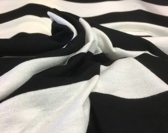"64"" Width Black and Off-White Striped Stretch Rayon Jersey Tissue Knit Fabric"