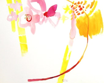 original abstract watercolor painting floral art on paper 13 x 10 inch