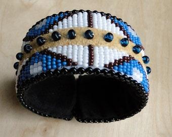 Beaded Slap Bracelet, Mountain Design