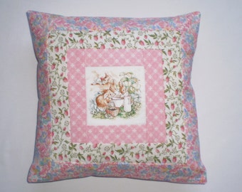 Beatrix Potter's FLOPSY BUNNIES Patchwork Nursery Cushion with Laura Ashley Fabrics