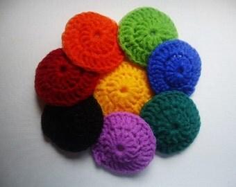 Pot Scrubbers Scrubbies Nylon Net Set of 8 Assorted Colors Handmade Crochet