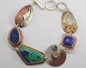Multi Stone Bracelet - Metalsmith Bracelet - Mixed Metal Bracelet