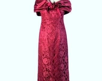 Red Wine Dress, Lace and Bouquet Flowers, Feminine Dress, Vintage Dress, Elegant Dress, Clothing for Women, Extraordinary Dress,