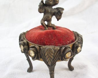 Very Vintage Winged Cherub ~ Red Velvet Tufted ~ Paw Foot ~ Rhinestone ~ Small Stand ~ Ring Stand~ Antiqued Metal ~ Curio Display