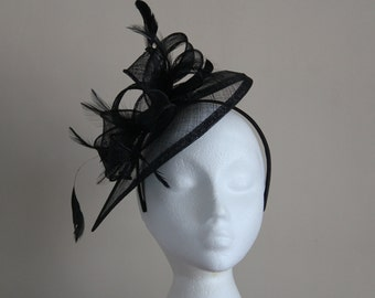 Black Fascinator and Feather Fascinator on a hairband, races, weddings, Kentucky Derby, Ascot, Melbourne Cup