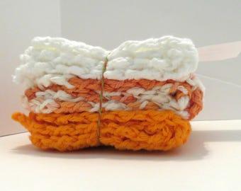 Dish Cloths Handmade 100% USA Cotton Set of 3 - Poppies