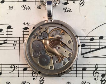 Humming Bird on Antique Watch Movement